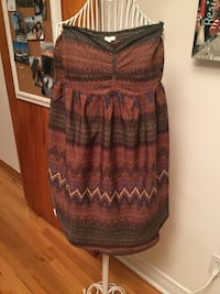 Women's brown and gray chevron strapless top