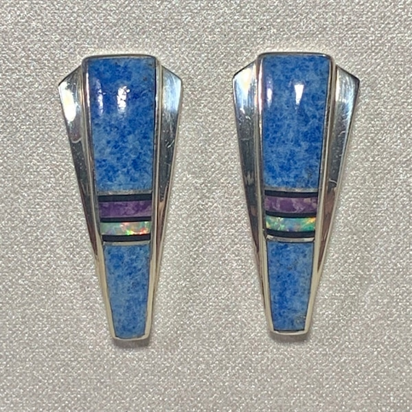Genuine Navajo Mosaic Sterling Silver Lapis Opal Sugilite Earnings 2