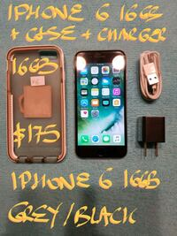 FIRM $175 orTRADE-GREY IPHONE 6 16GB+Case+charger Pointe-Claire, H9R 3A3