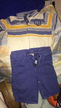 Toddler's blue and white polo shirt with pants