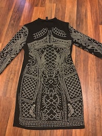women's black and gray studded long sleeved crew-neck bodycon dress