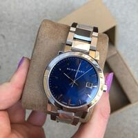 burberry silver blue embossed watch