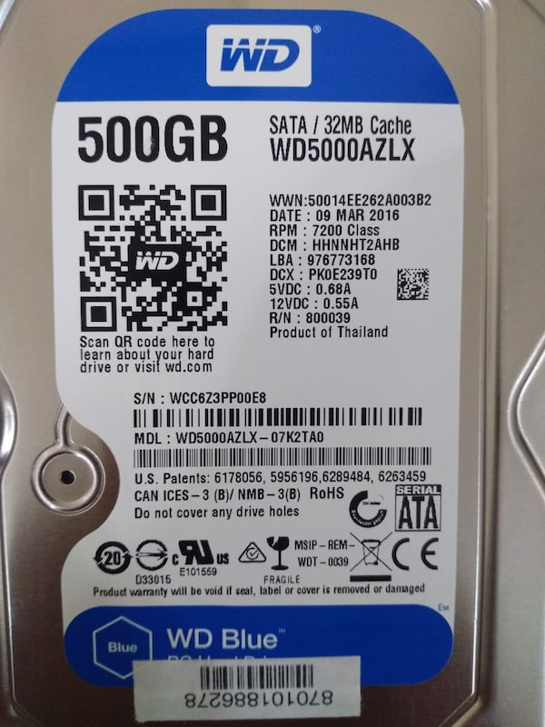500 GB WD BLUE 32MB 7200 Rpm 1