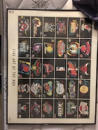 Fine Art of the NBA (classic teams logos framed basketball poster) Columbia, 21046