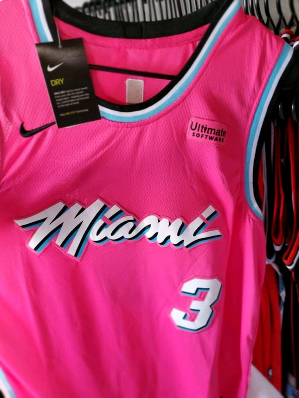official photos fbb39 f01a2 New Hot All Pink Miami Heat Wade Jersey