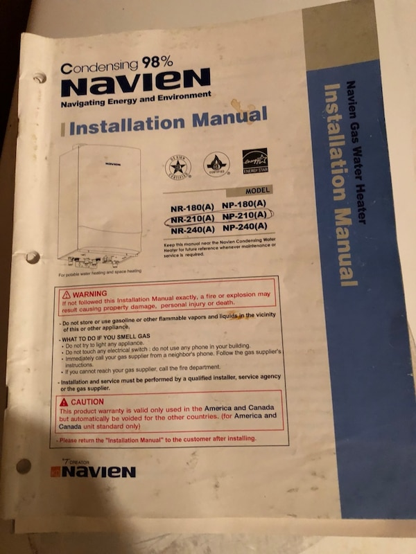 Used Navian Tankless Hot Water Heater For Lp For Sale In Elmer Letgo
