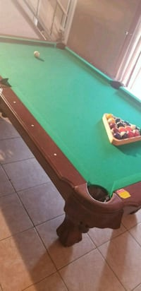brown wooden framed green pool table Houston, 77089