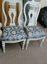 two blue-and-white floral padded chairs Brockton, 02302
