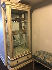 Cream wooden framed glass display cabinet Toronto