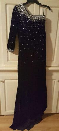 Black/Silver Sparkly Jewelled Formal Wedding Dress