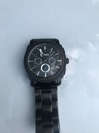 Round black chronograph watch with link bracelet Long Beach, 90803