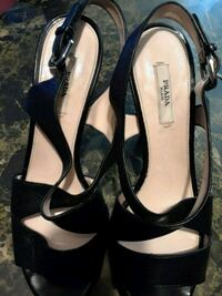 pair of black leather open-toe ankle strap heels West Palm Beach, 33415
