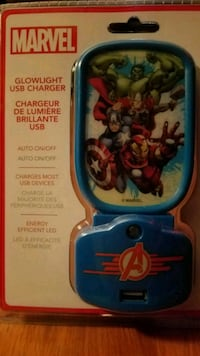 Avengers Night Lights phone charger port. Reading
