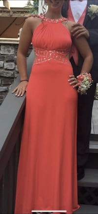 Coral open back prom dress size 2 Mahopac, 10541