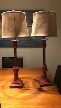 Used Two Brown Wooden Base Table Lamps With Brown Lampshades For