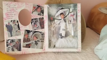Barbie as Eliza Doolittle in My Fair Lady.  White Ribbon and Lace dres