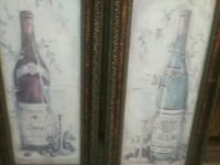 Two canvas paintings with frame and glass