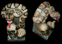 Pair Skull Cobra Snake book ends