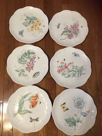 four white-and-green floral ceramic plates Fairfax, 22033