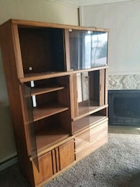 brown wooden TV hutch with flat screen television Post Falls, 83854