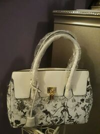white and black floral tote bag Baltimore, 21206