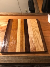 "Hand made cutting board. Maple, Walnut, Oak and Cherry. 12""x14"". Ready to use. 903 mi"