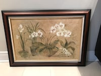 White petaled flower painting with black wooden frame Toronto, M9W 2E7