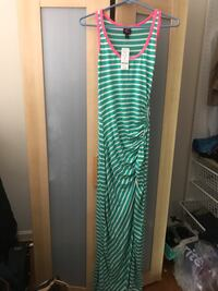 Bebe green and white striped maxi dress size small (new)