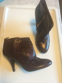 Heeled boots, burgundy, woman's 11 Annapolis