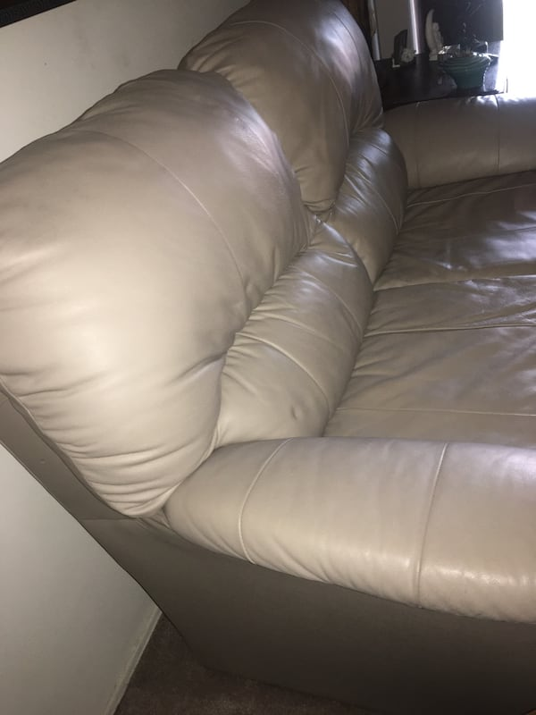 MUST GO! Beige pleather sofa - Good condition- smoke free home 1