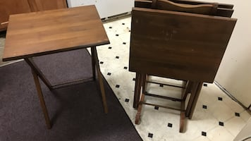 Brown wooden folding tables two