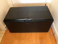 LARGE LEATHER SEAT SOFA WITH STORAGE N TRAY TABLE Black wooden 2-drawer chest Washington, 20008