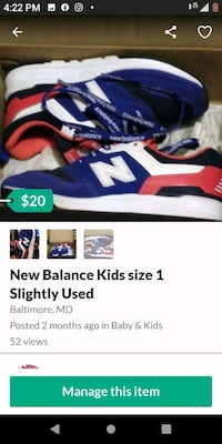 New Balance Kids Size 1 Baltimore, 21223