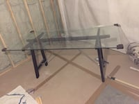 rectangular glass top table with black metal base Vaughan, L4L 2S2