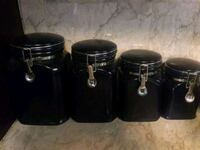 three dark blue ceramic canisters with lids Richmond, 77469