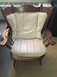 brown wooden framed white padded rocking chair Arlington, 22204
