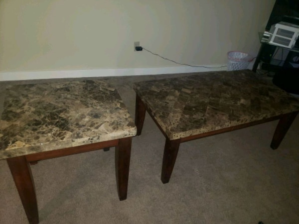 MARBLE COFFEE TABLE AND END TABLE  8b3d8901-b0a9-4484-a491-0ac6aa5e599e