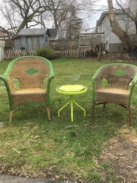 2 wicker chairs with side table  Ajax