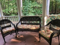 Like new with beautiful cushions. Always covered, barely used dark wicker sofa chairs and table for deck porch or inside Burke, 22015