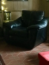 black Leather tufted sofa  Club chair ELKRIDGE