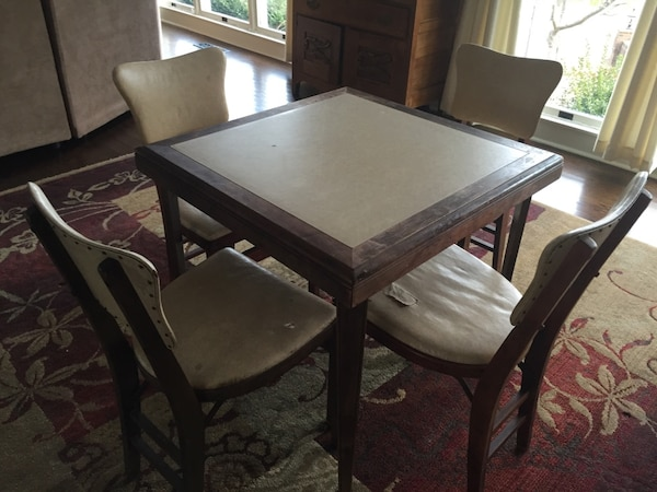 1950 S Vintage Stakmore Folding Card Table And Chairs