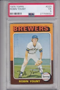 1975 TOPPS ROBIN YOUNT ROOKIE CARD PSA 5