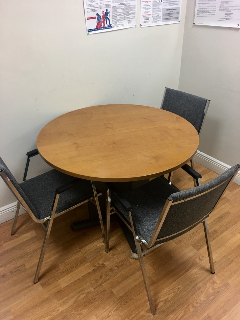 D Round Brown Wooden Table With Three Chairs Dining Set