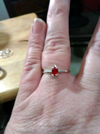 Women's Little Red Stone Costume Ring