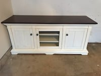 Lazy Boy Solid wood ivory and dark town side table or TV console 2 km