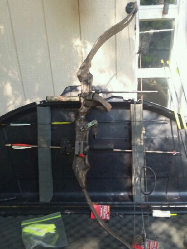 black and red compound bow