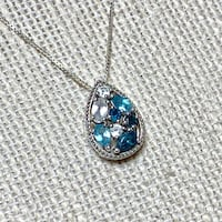 Vintage Sterling Silver Aquamarine & Sapphire Pendant with Sterling Box Chain