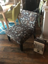 brown wooden framed white and black floral padded armchair Dallas, 75231