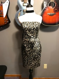 brown, black, and beige leopard print strapless dress