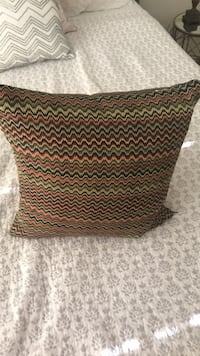 Multi colored decorative pillow / Black and brown chevron print textile Martinez, 94553